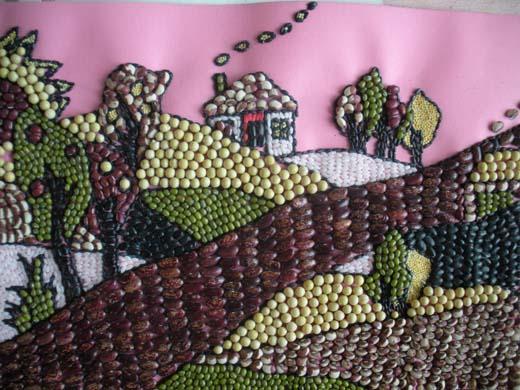 豆贴画作品大全_趣味横生的幼儿豆贴画 风景豆贴画图片大全 肉丁儿童网